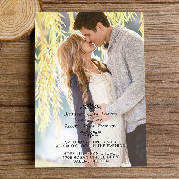 "Romantic Engagement Photo Wedding Invitations with Free RSVP Cards//Use coupon code ""rpin"" to get 10% off towards all the invitations. #elegantweddinginvites #weddingideas #photoweddinginvitations"