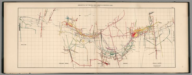 1870 :: Author: King, Clarence :: Short Title: Plate 4. Horizontal Map Virginia Mines Workings, Comstock Lode. Publisher: Julius Bien Publisher Location:New York
