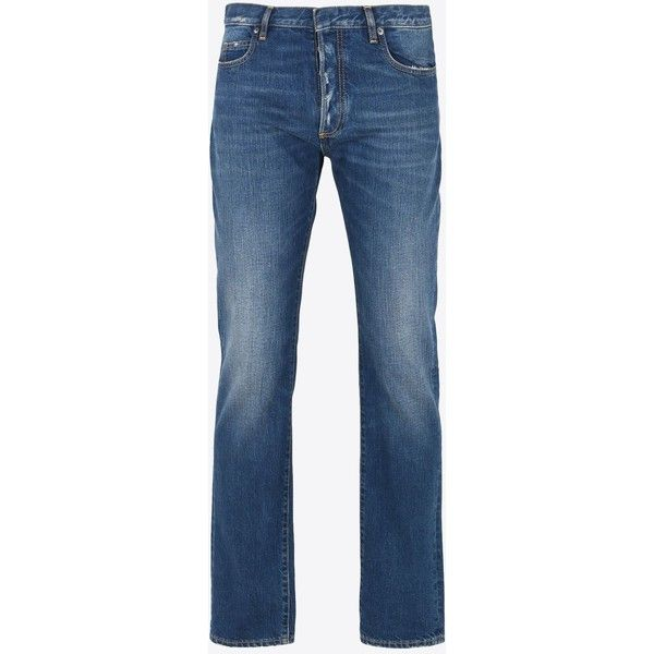 Maison Margiela Jeans ($550) ❤ liked on Polyvore featuring men's fashion, men's clothing, men's jeans, blue, mens slim fit jeans, mens faded jeans, mens slim jeans and mens blue jeans