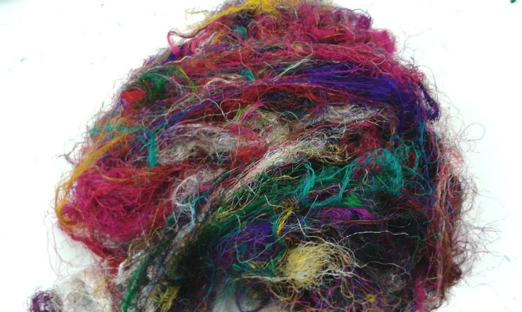 Sari Silk Fibre Recycled 50 grams by feltfibrecraft on Etsy