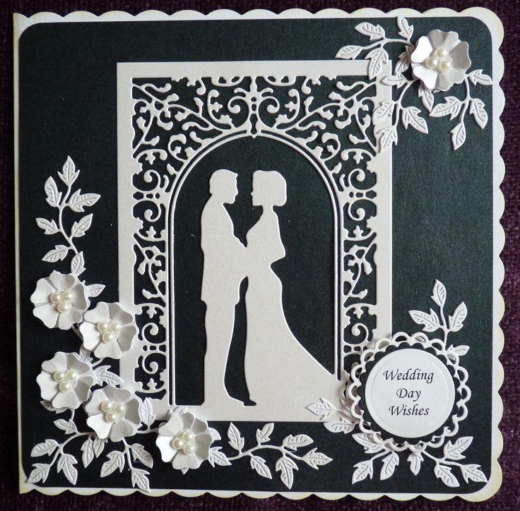 Wedding Card in black and white using Cheery Lynn Wedding Vows die.