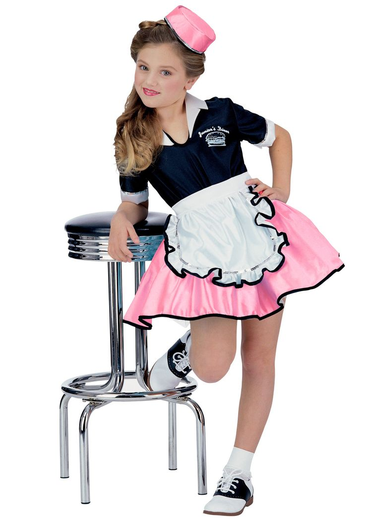 Pink Child 50s Car Hop Girl Costume