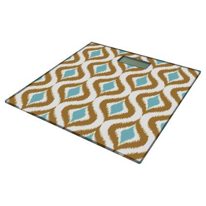 Brown Teal Turquoise Retro Chic Ikat Drops Pattern Bathroom Scale - retro gifts style cyo diy special idea