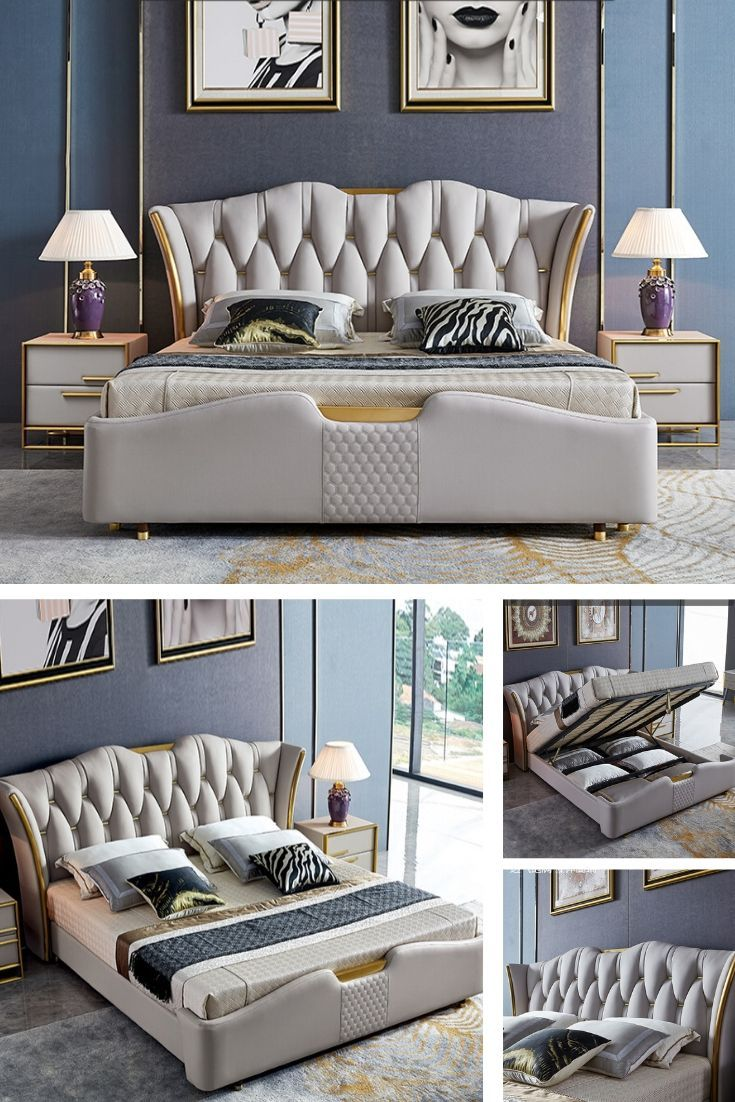 Luxury Light Beige Upholstered Bed Frame Bedroom Bed Design Bedroom Furniture Design Bed Design Modern Luxury double bed room