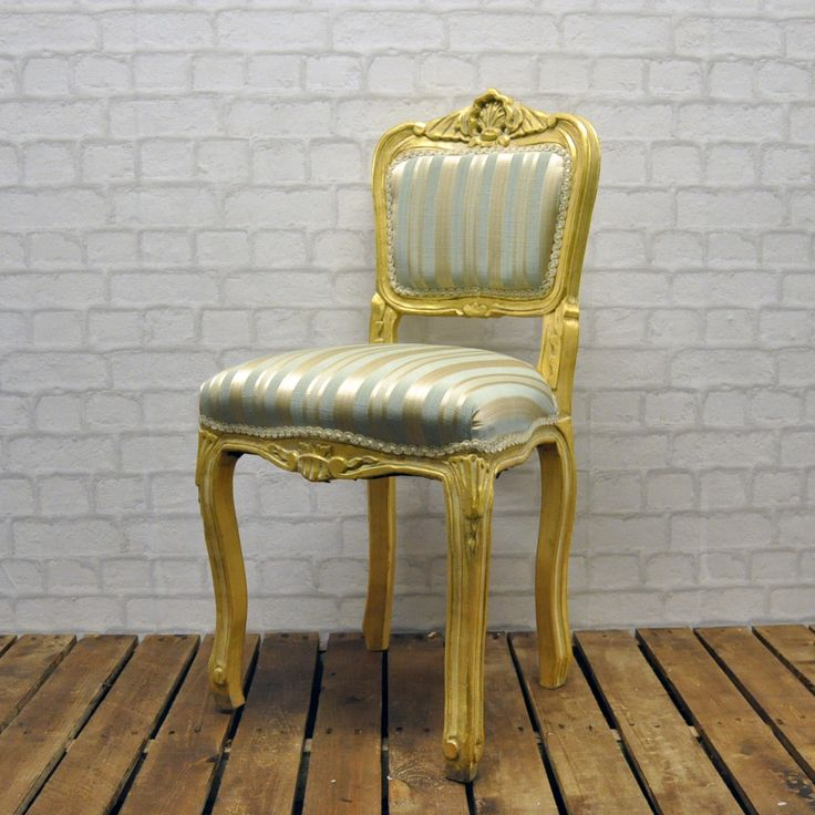 Antique Gold French Style Duck Egg Stripe Louis Bedroom