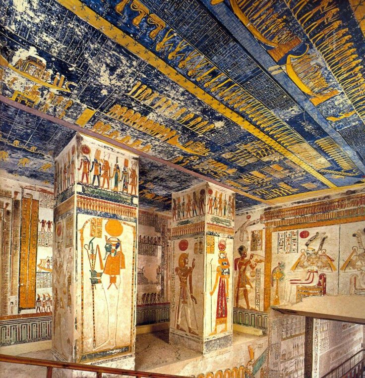 Inside the royal tomb of Pharaoh Ramesses IV 1155-1149 B.C. 20th Dynasty.Tomb KV2 at the Valley of the Kings.It has been open since antiquity and contains a large amount of graffiti.