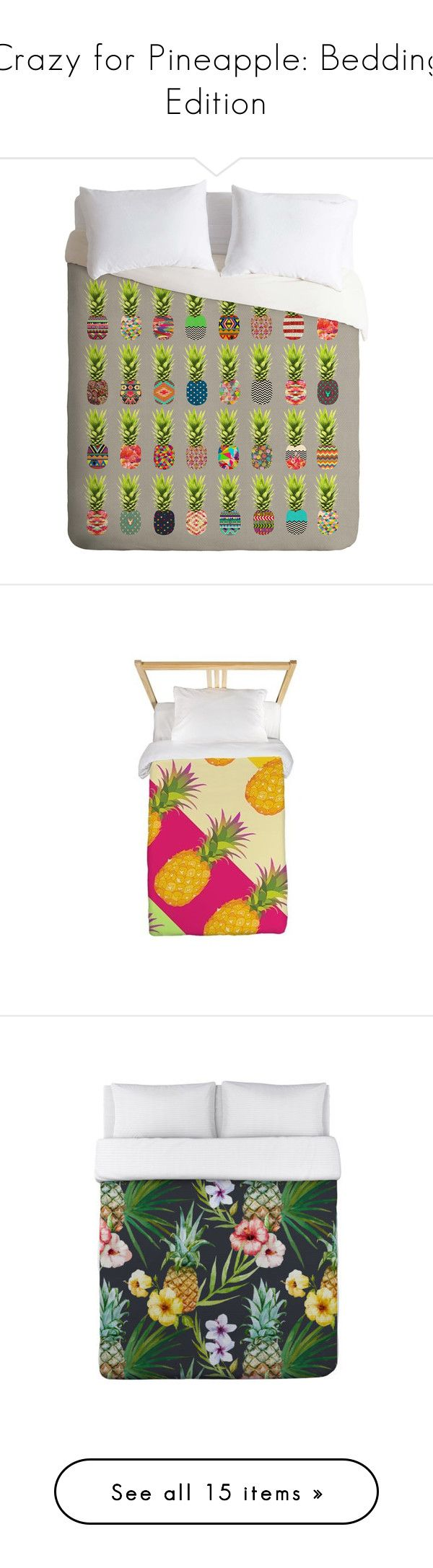 Crazy for Pineapple: Bedding Edition by polyvore-editorial on Polyvore featuring pineapplebedding, home, bed & bath, bedding, duvet covers, lightweight bedding, green bedding, king bed linens, king size bedding and king size bed linens