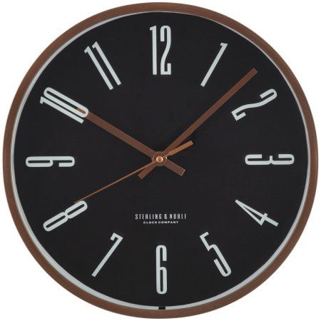 Mainstays Black and Rose Gold Wall Clock, Multicolor