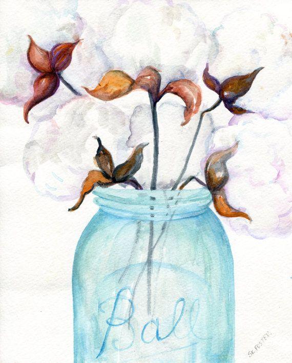Cotton Bolls blue canning jar original by SharonFosterArt on Etsy