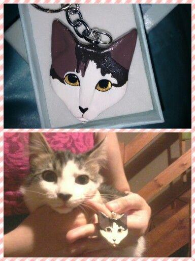 Llavero personalizado modelado con porcelana fria #Cat