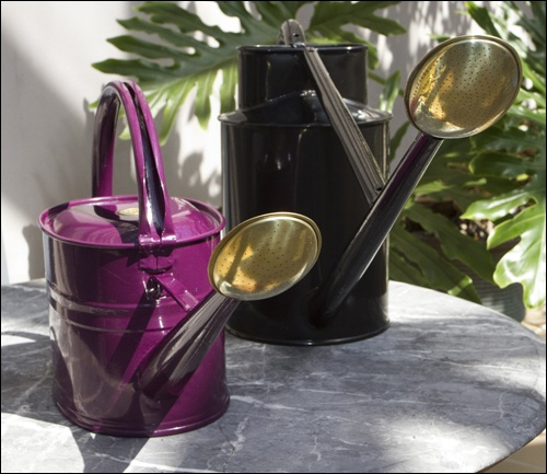 Welcome to INstore // Haws Watering Cans These tried and true Haws watering cans are the most expensive because they are the best. You might have seen them in green and copper before, but at INstore we present them to you in chic black and bequiling magenta. This timeless gift becomes an art piece as well as a highly functional object. Available in 2 sizes: 1 Gallon (Magenta) $90.00 2.3 Gallon (Black) $200.00