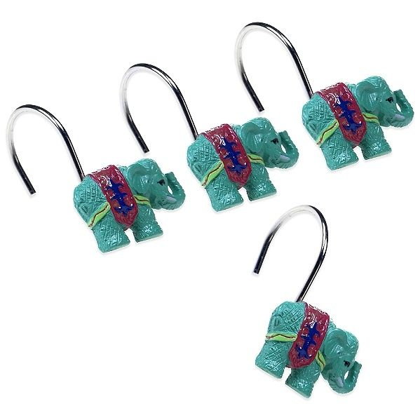 Leandre 3D Elephant Shower Curtain Hooks (12 piece Set )  by Tracy Porter - Certified International Dinnerware
