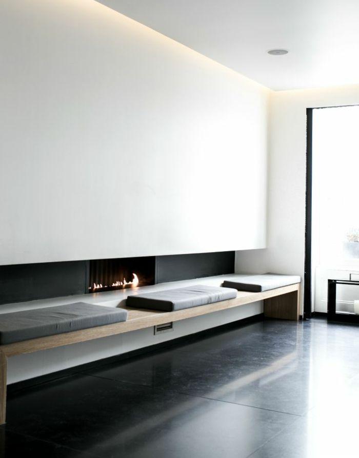 eclairage indirect dans le salon avec carrelage noir et mirs blancs - Salon Avec Carrelage Blanc