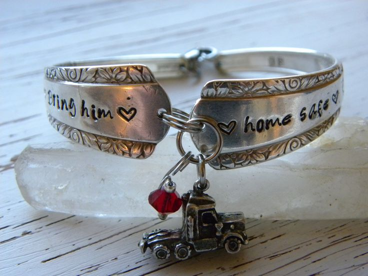 Bring him home safe hand stamped spoon handle bracelet with truck charm and crystal