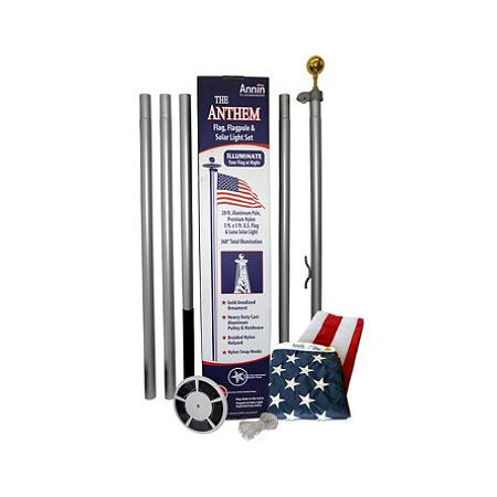 Anthem 20' Residential Lighted Flagpole Set-This residential flagpole set is the perfect choice for any home and features the following: Five-piece sectional aluminum pole. Top quality 3' X 5' Nyl-Glo Colorfast US flag. Gold anodized ball ornament. Heavy duty cast aluminum pulley and hardware. Large solar light with panels that collect energy from the sun all day and LED lights illuminate your flag at night.