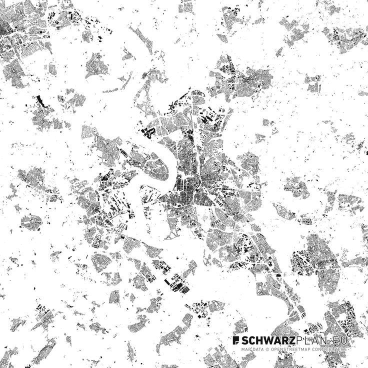Schwarzplan von Düsseldorf #Düsseldorf #schwarzplan #stadtplan #lageplan #citymap #siteplan