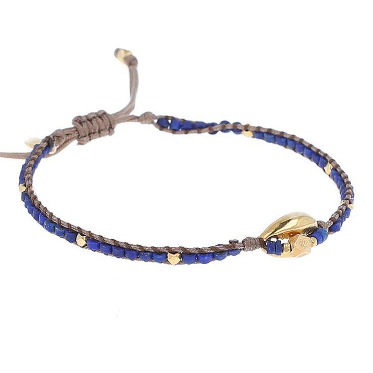 Lapis Shell Pendant Adjustable Bracelet - Chan Luu