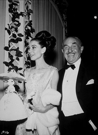 "October 28, 1964, Audrey Hepburn and Jack Warner arrive at the premiere of their new film ""My Fair Lady"" in Hollywood/California."