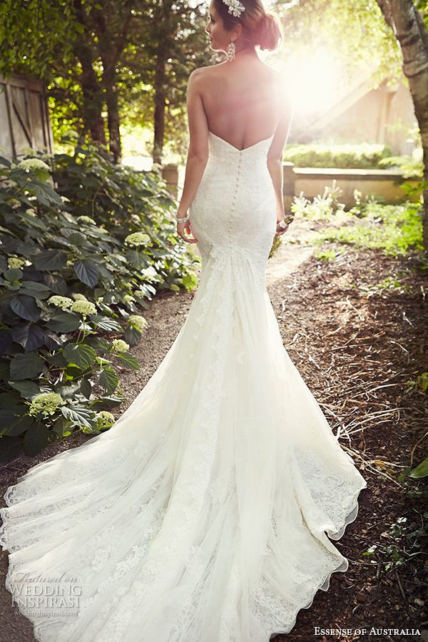 essense of australia wedding dress 2015 bridal strapless sweetheart neckline trumpet gown cathedral train d1788