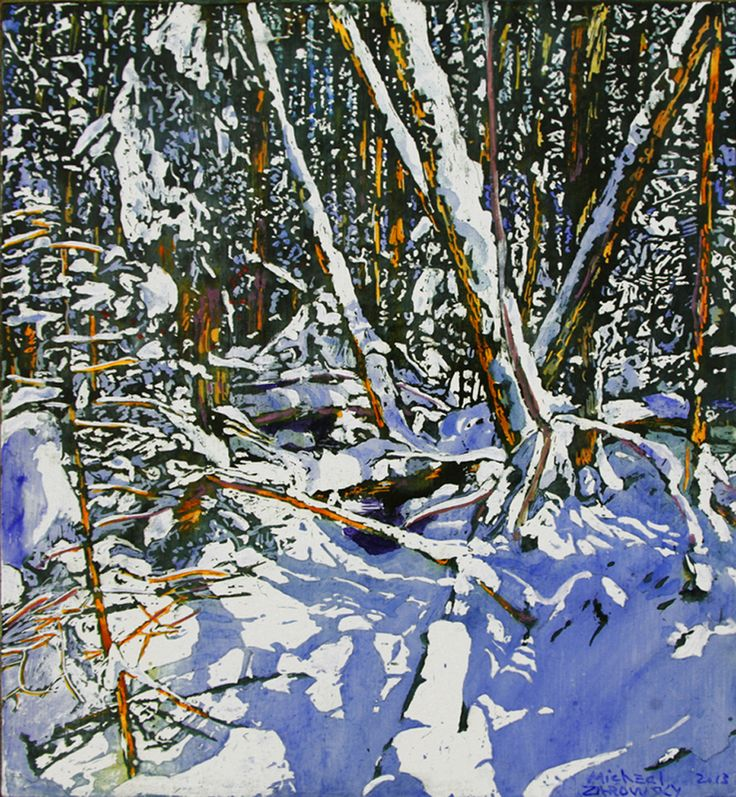 """daylight crossing paths with open stream running into the forest 16"""" x 16.5"""" micheal zarowsky / Mixed media (watercolour / acrylic painted directly on gessoed birch panel)  Available $500.00"""