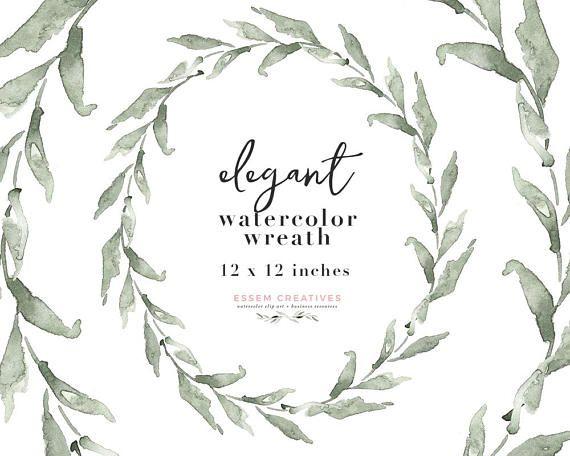 Watercolor Olive Wreath Clipart Eucalyptus Wreath Png For Etsy Olive Wreath Clip Art Leaf Clipart