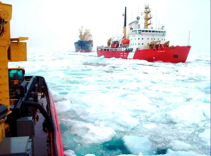 THIS is the ICE pack in Frobisher Bay, Nunavut in late JULY!....... Nunatsiaq News: The Canadian Coast Guard Ship Des Groseilliers escorts the NSSI cargo ship Anna Desgagnés through a heavy ice pack in Frobisher Bay July 26. The Coast Guard vessels Des Groseilliers and Terry Fox have spent days battling ice to safely bring the cargo ships Anna Desgagnés and Qamutik, operated by NEAS, into Iqaluit. (PHOTO COURTESY OF ENVIRONMENT CANADA) — in Iqaluit, Nunavut.