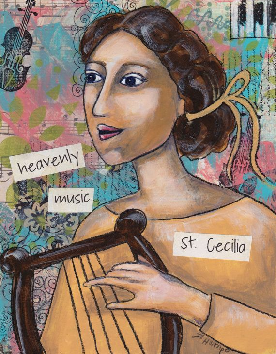 St. Cecilia, patron saint of music, musicians, poets and the blind. This saint painting would make a wonderful Confirmation gift or