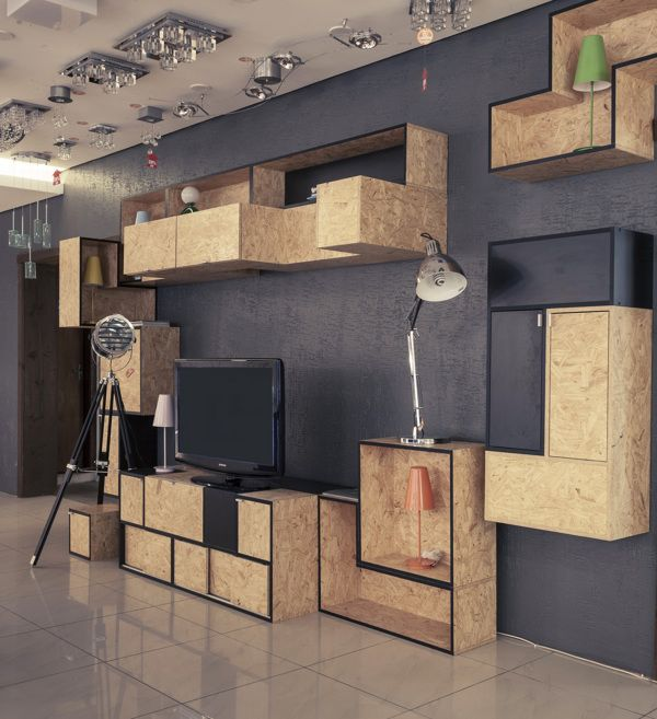 Mit Schwarz und Grau als Hintergrund kommt die Holzstruktur und -farbe besonders schön zur Geltung