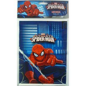1077 - Spiderman Loot Bags. Pack of 8 Spiderman Loot Bags pack of 8