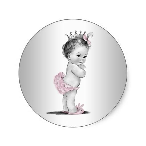 Vintage Pink Princess Baby Shower Stickers $5.25