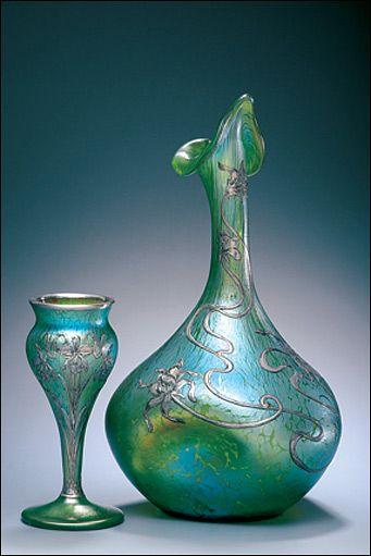 Art nouveau Loetz (attrib) Glass & Silver vase & Rosewater sprinkler ca.1900