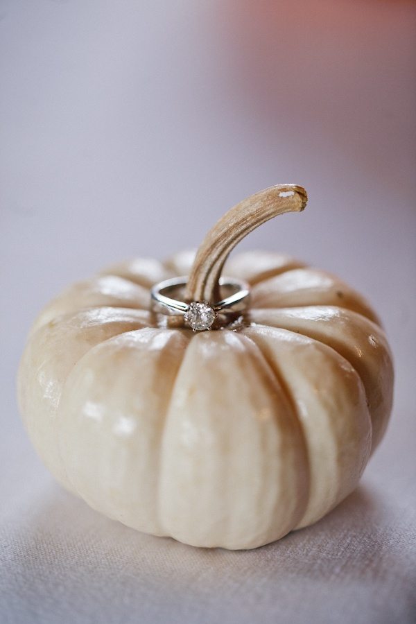 put the bride and grooms rings on the pumpkin for a fall wedding photo