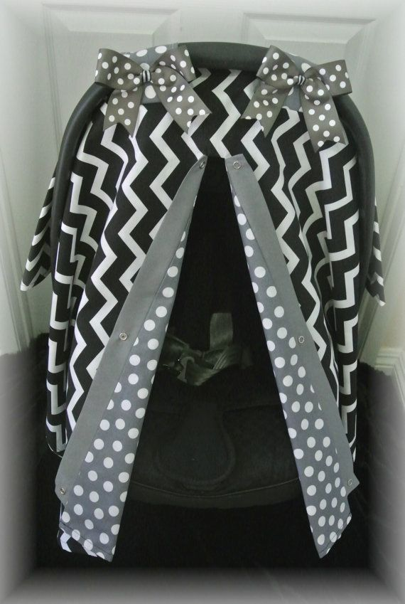 carseat canopy car seat cover black gray polka by JaydenandOlivia, $35.99
