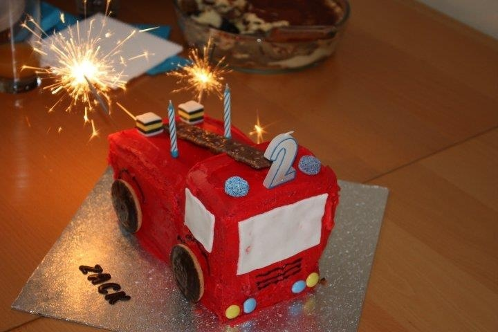 Fire engine cake. Vanilla sponge put together to make the fire engine, covered in butter cream.