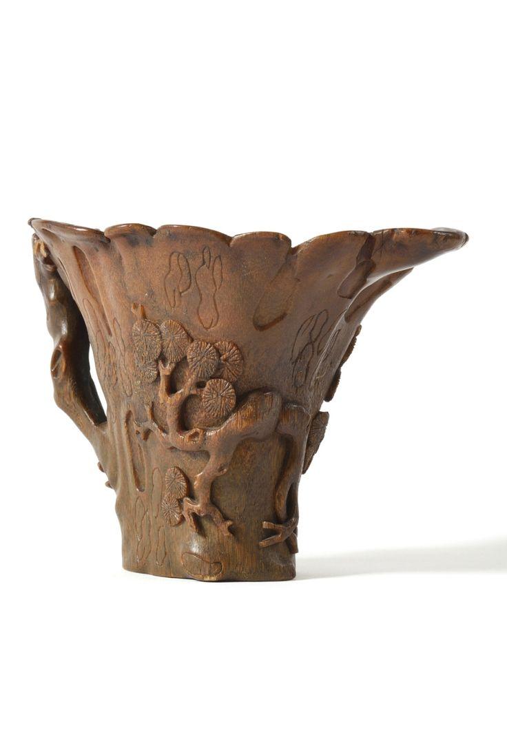 Coupe libatoire en corne de rhinocéros, Chine, XVIIe-XVIIIe siècle