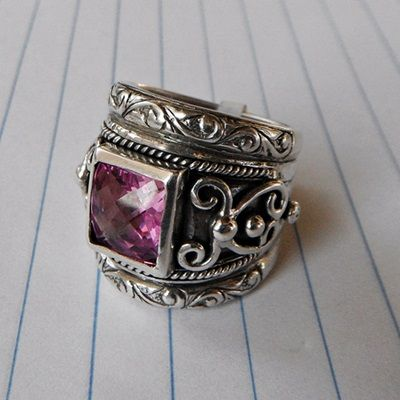 Susan Roos - Handmade blackened silver ring with pink stone