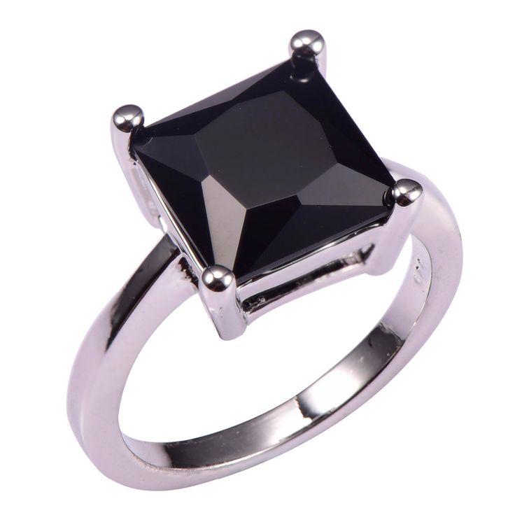 Estilo clásico Negro Onyx 925 Del Banquete de Boda de Diseño de Moda romántico Anillo de Tamaño 5 6 7 8 9 10 11 12 PR35