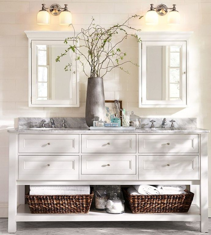 Traditional Full Bathroom with complex marble tile floors, Flat panel cabinets, Double sink, Classic Double Sink Console