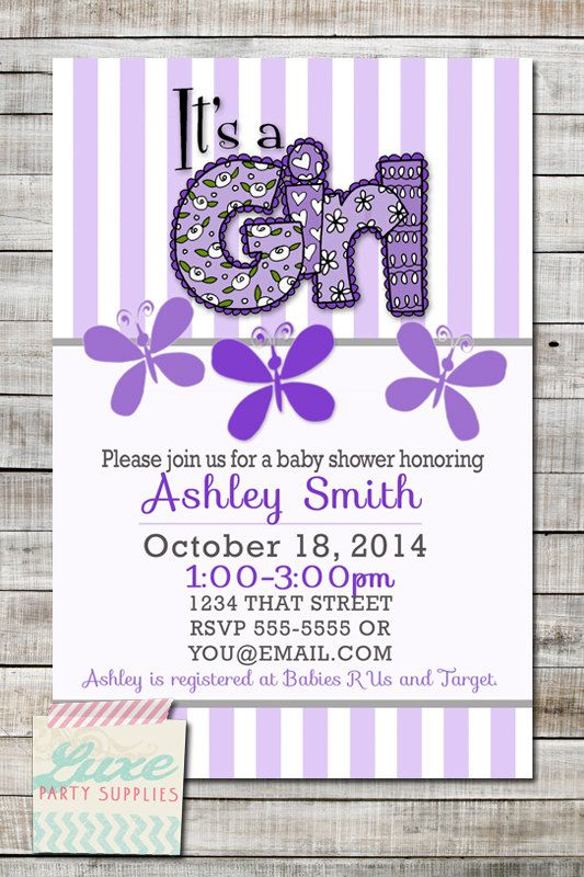 Purple Butterfly Baby Shower Invitation Printable, Customize Lavendar Baby Girl Shower Stripe Flower Baby Shower supplies by LuxePartySupply on Etsy