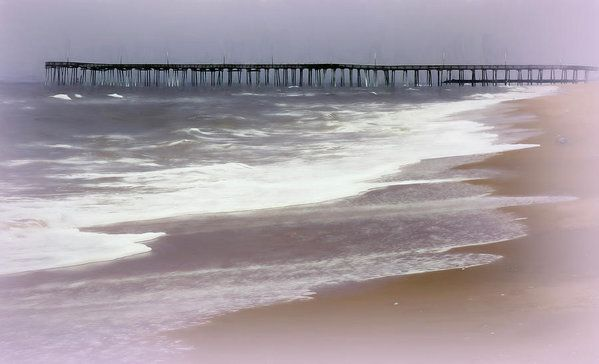 Virginia Beach Fishing Pier Art Print by Leslie Montgomery.  All prints are professionally printed, packaged, and shipped within 3 - 4 business days. Choose from multiple sizes and hundreds of frame and mat options.