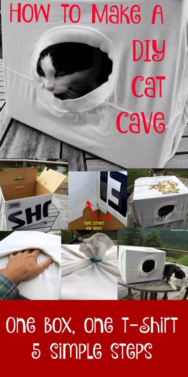 DIY Cat Hacks - Easy DIY Cat Cave - Tips and Tricks Ideas for Cat Beds and Toys, Homemade Remedies for Fleas and Scratching - Do It Yourself Cat Treat Recips, Food and Gear for Your Pet - Cool Gifts for Cats http://diyjoy.com/diy-cat-hacks
