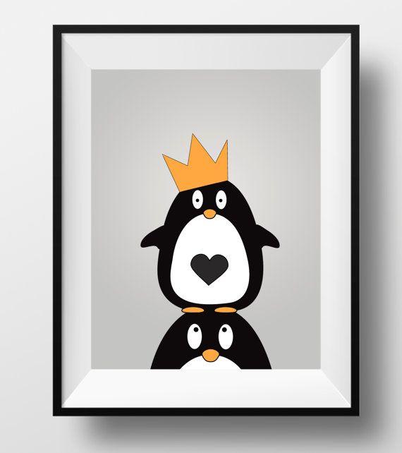 Penguin art animal nursery print penguin by DesignsByLittlePitti