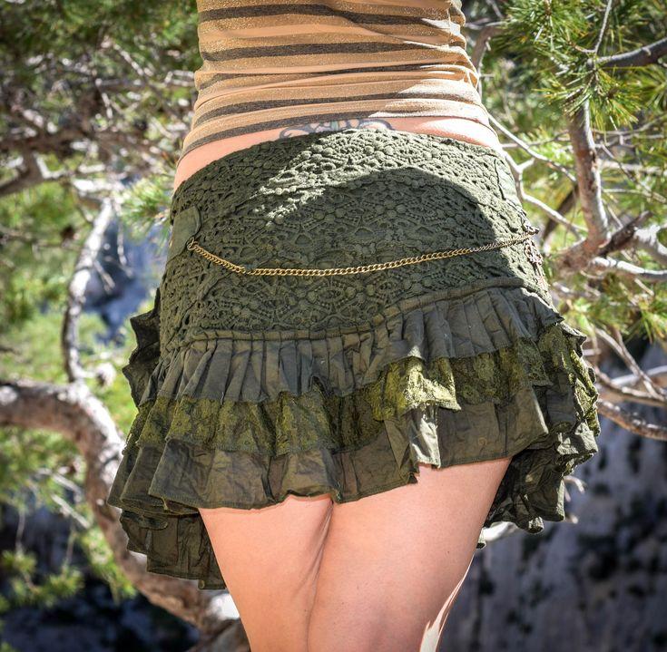 Boho psy goa festival skirt, gypsy lace skirt, green sexy skirt, bohemian skirt, skirt with pocket and belt, psychedelic festival skirt by wikandah on Etsy