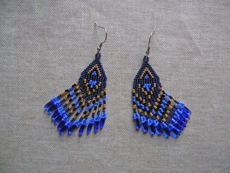 Boucles d'oreilles perles Miyuki Boucles d'oreilles tissée main indien Huichol Bleu et doré Boucles d'oreilles : Boucles d'oreille par m-comme-maryna