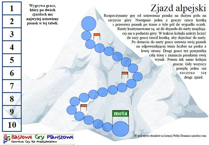 Zjazd alpejski - plansza do gry