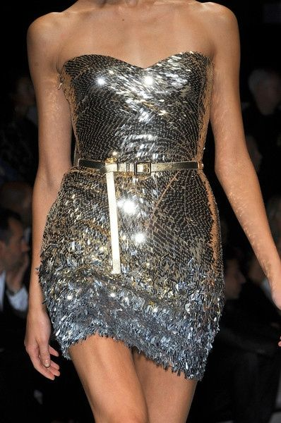 Versace strapless- silver & gold