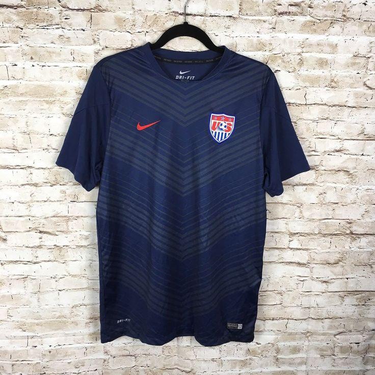 Mens Nike Dri-Fit US soccer shirt jersey sz XL navy/red authentic training    eBay