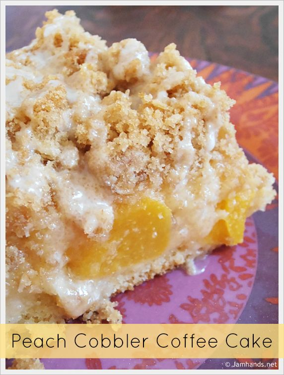 Peach Cobbler Coffee Cake Recipe ~ A base of coffee cake, a layer of peaches, more cake, then a streusel topping and a basic powdered sugar glaze tops it