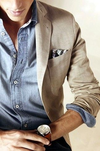 Men's Beige Linen Blazer, Light Blue Chambray Long Sleeve Shirt, Grey Plaid Pocket Square, Brown Leather Watch