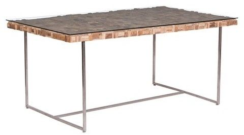 """ZM Home Rectangular 71"""" Recycled Teak Wood, Tempered Glass and Stainless Steel Dining Table - Natural"""